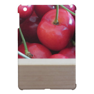 Border of fresh cherries on wooden background case for the iPad mini
