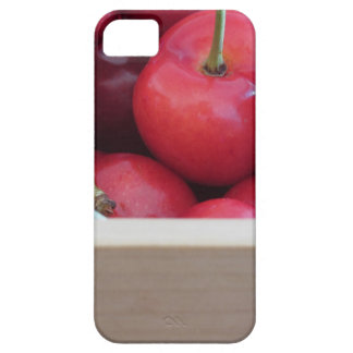 Border of fresh cherries on wooden background case for the iPhone 5