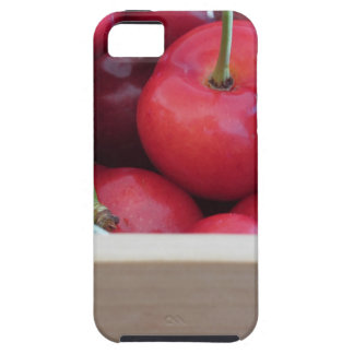 Border of fresh cherries on wooden background iPhone 5 cases