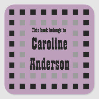 Border of Squares Bookplate Sticker