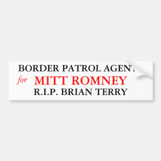 Border Patrol Agents For Mitt Romney Bumper Sticker