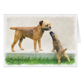 Border Terrier and Puppy Greeting Card