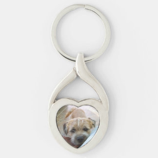 border terrier begging Silver-Colored twisted heart keychain