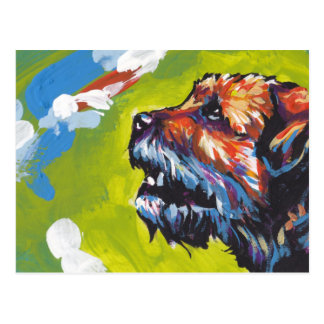 border terrier Bright Colorful Pop Dog Art Postcard
