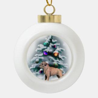 Border Terrier Christmas Ceramic Ball Christmas Ornament