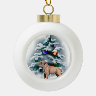 Border Terrier Christmas Ceramic Ball Ornament