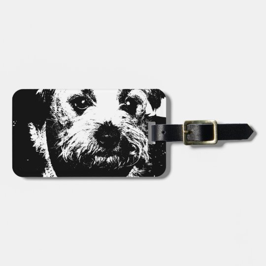 Border terrier cowboy dog. luggage tag