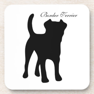 Border Terrier dog black silhouette coaster