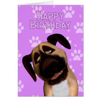 Border Terrier Dog Cartoon Birthday Greeting Card