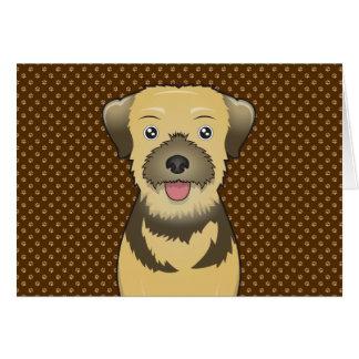 Border Terrier Dog Cartoon Paws Card