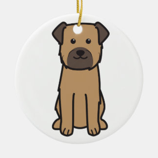 Border Terrier Dog Cartoon Round Ceramic Ornament