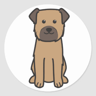 Border Terrier Dog Cartoon Round Sticker