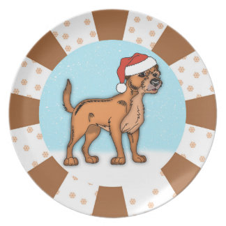 Border Terrier Dog Christmas Plate