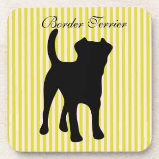 Border Terrier dog green & pink stripes coaster
