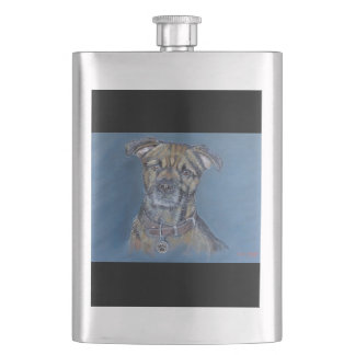 Border terrier dog pet portrait gift flask