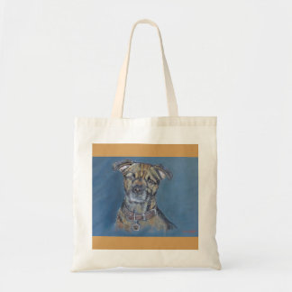 Border terrier dog pet portrait tote bag