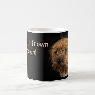 Border Terrier Dog White Mug, frown upside down Coffee Mug