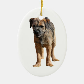 Border Terrier puppy dog \i love heart ornament