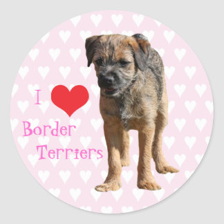 Border Terrier puppy dog I love heart stickers