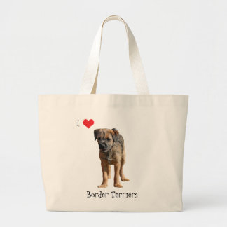 Border terrier puppy dog love heart tote bag, gift