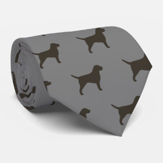 Border Terrier Silhouettes Pattern Tie