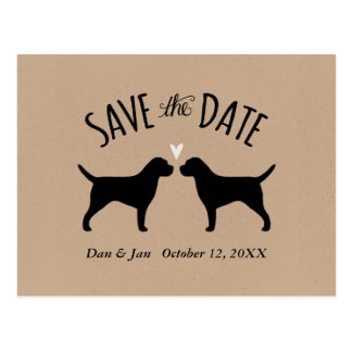 Border Terrier Silhouettes Wedding Save the Date Postcard