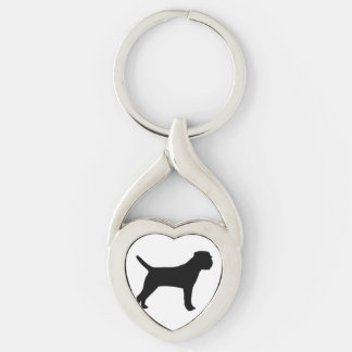 Border Terrier silo black Silver-Colored Twisted Heart Keychain