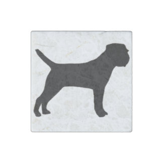 Border Terrier silo black Stone Magnets