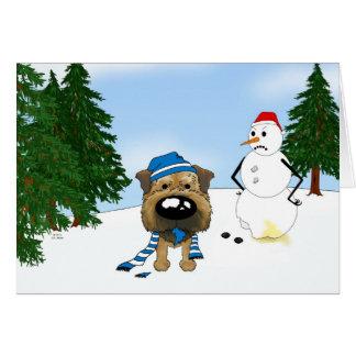 Border Terrier Winter Scene Card