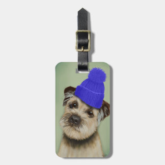 Border Terrier with Blue Bobble Hat Luggage Tag