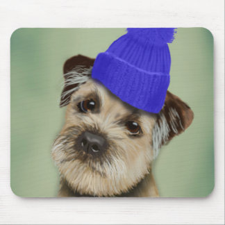 Border Terrier with Blue Bobble Hat Mouse Pad