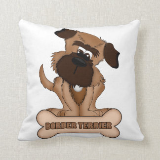 Border Terrier With Bone Throw Pillow
