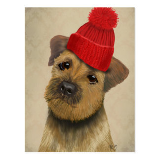 Border Terrier with Red Bobble Hat Postcard