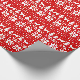 Border Terriers Christmas Sweater Pattern Red Wrapping Paper