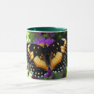 Bordered Patch Butterfly on Purple Aster Mug