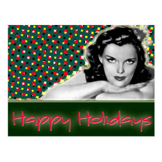 Bored Brunette - Happy Holidays Postcard