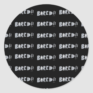 Bored Comic Style Word Typographic Pattern Classic Round Sticker