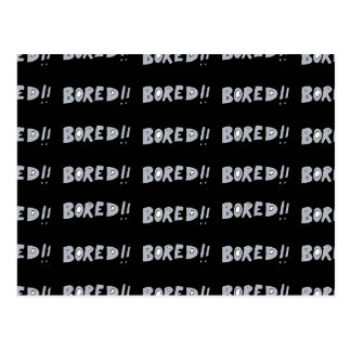 Bored Comic Style Word Typographic Pattern Postcard