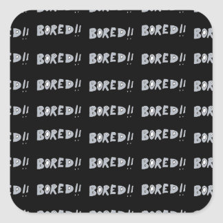 Bored Comic Style Word Typographic Pattern Square Sticker