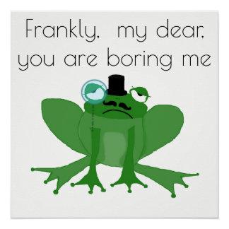 Bored Posh Frog Poster