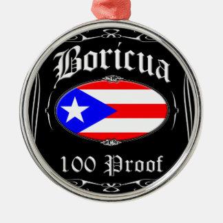 Boricua 100 Proof Silver-Colored Round Ornament