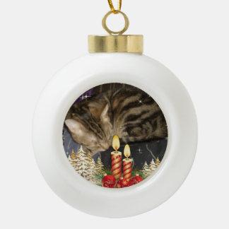 boris catenov waiting for santa paws ceramic ball christmas ornament