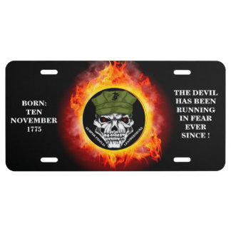 BORN 10 NOV 1775 / THE DEVIL HAS BEEN RUNNING LICENSE PLATE