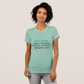 Born: Earth; Race: Human; Religion: Love Tee women