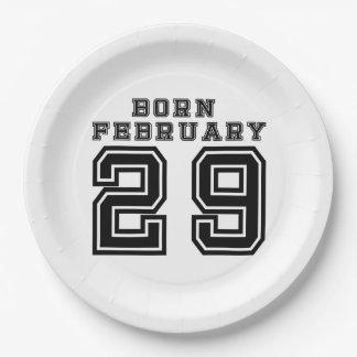 Born February 29 9 Inch Paper Plate