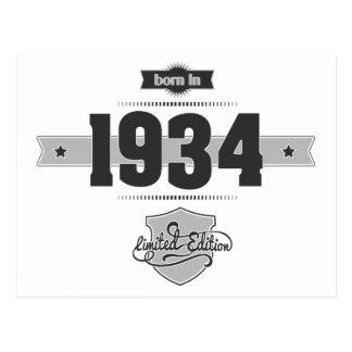 Born in 1934 (Dark&Lightgrey) Postcard