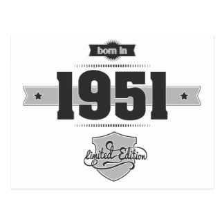 Born in 1951 (Dark&Lightgrey) Postcard