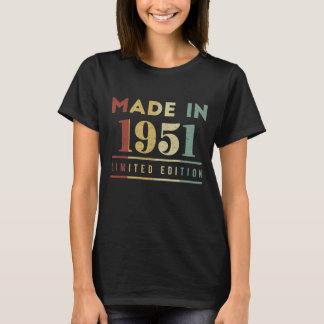 Born In 1951 T-Shirt. Birthday Costume Ideas. T-Shirt