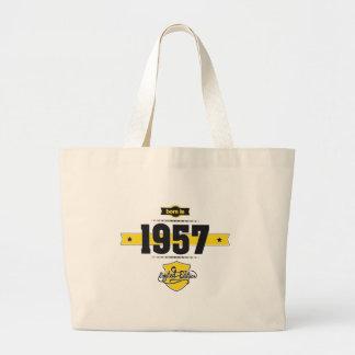born in 1957 (choco&yellow) large tote bag