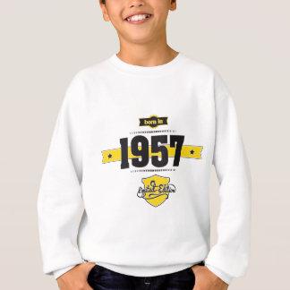 born in 1957 (choco&yellow) sweatshirt